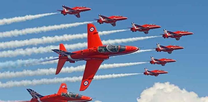 red arrows flying high